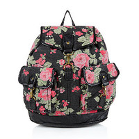 Black and Red Floral Tapestry Backpack