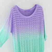 A 081904 z Colorful gradient hollow pullover sweater26