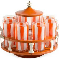 One Kings Lane - Travis Rich - Orange Glassware Carousel, 10 Pcs.