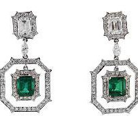 Jewel of ocean 18K White Gold Emerald and Diamond Earrings - Jewelry | Portero Luxury
