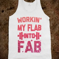 Workin' My Flab into Fab Light (faux glitter)-Unisex White Tank