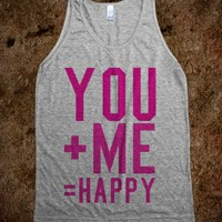 YOU PLUS ME EQUALS HAPPY (PINK) TANK