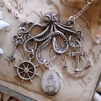 $18.00 The Kraken in Silver Pirate Ship Octopus Necklace by TheLysineContingency