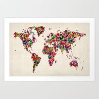 Butterflies Map of the World Map Art Print by ArtPause