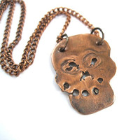 Creepy Skull Halloween Pendant Copper Chain Gothic Halloween Necklace Costume Jewelry