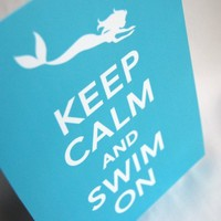 Mermaid Keep Calm Print 5x7 Size by AfricanGrey on Etsy