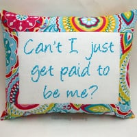 Funny Cross Stitch Pillow, Teal Pink And Blue Pillow, I'm Awesome Quote