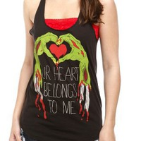 Zombie Heart Girls Tank Top Size : Small