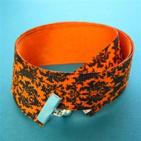 Halloween Damask Ribbon Bracelet - Spiffing Jewelry