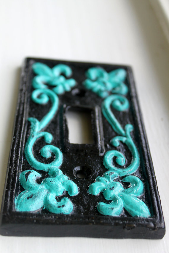 "Black & Teal ""Fleur de lis""  Light Switch Plate by AquaXpressions"