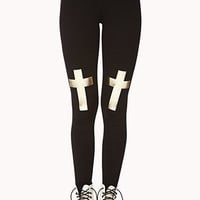 Metallic Cross Leggings | FOREVER 21 - 2040495459