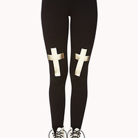Metallic Cross Leggings
