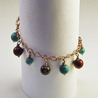 Dangle Bracelet Blue Turquoise Red Jasper Brown Quartz and Copper | LaraJordanJewelry - Jewelry on ArtFire