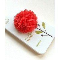 "3D Korean Cloth Art Design iPhone4/4S Flower ""Design Tree"" Hard Casey(Melon Red): Cell Phones & Accessories"