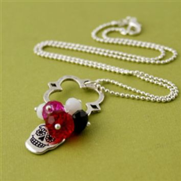 Sugar Skull Charm Necklace in Red and Pink - Spiffing Jewelry