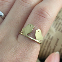 Love two bird Adjustment Ring by BeautyandLuck on Etsy