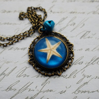 Real Starfish Necklace 1 Blue Resin by NaturalPrettyThings on Etsy