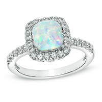 7.0mm Cushion-Cut Lab-Created Opal and White Sapphire Ring in Sterling Silver - Size 7 - View All Rings - Zales