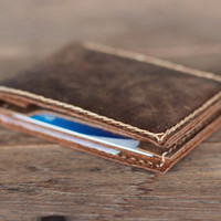 Mens Leather Minimalist Wallet ---- Bi-Fold - Ultra Slim Without Limitations - Groomsmen Gifts and Fun Birthday Presents they will remember