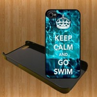 Keep Calm And Go Swim Custom Case/Cover FOR Apple iPhone 4 /4S BLACK Plastic snap Case WITH FREE SCREEN PROTECTOR ( Verison Sprint At&t):Amazon:Cell Phones & Accessories
