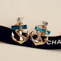Fashion cute pirate navy anchor earrings ear jewelry