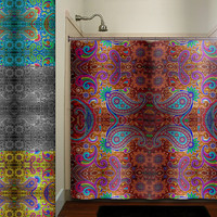 paisley gypsy hippie bohemian art tapestry shower curtain bathroom decor fabric kids bath white black custom duvet cover rug mat window