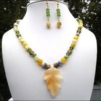 Yellow Jade Carved Leaf, Agate, Green Sea Glass Necklace Earring Set