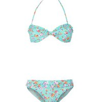 New Look Mobile | Teens Pale Blue Floral Frill Bandeau Bikini