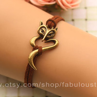 fox braceletretro bronze braceletbrown rope chain by fabuloustime