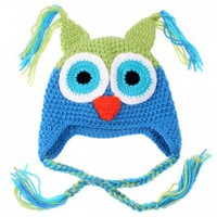 Kooky Cute Blue and Green Owl Childrens Hat