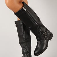 Liliana Alba-4 Buckle Zipper Round Toe Riding Knee High Boot