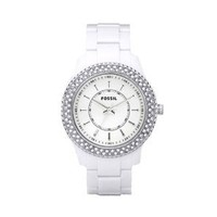 Fossil Women's ES2444 White Resin Bracelet White Glitz Analog Dial Watch: Fossil: Watches