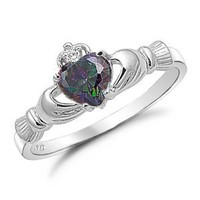 Amazon.com: Sterling Silver Rainbow Topaz Heart CZ Claddagh Ring Size 8: Jewelry