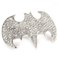 Batman Logo Crystal Stone Sparkling Two Fingers Cocktail Ring:Amazon:Jewelry