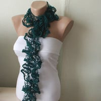 Emerald Green Color Web lace Handmade Crochet Scarf by Periay
