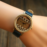Vintage Style Watch with Waves B
