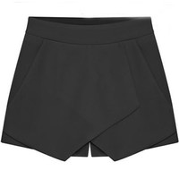 ROMWE | Asymmetric Split Oversize Black Shorts, The Latest Street Fashion