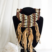 Authentic Native American  Bone Fringe Choker - Chief Ceremonial Necklace