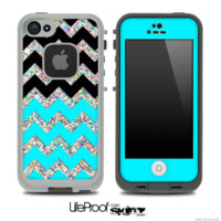 Turquoise, Black and Colorful Dotted Chevron Pattern Skin for the iPhone 5 or 4/4s LifeProof Case - iPhone