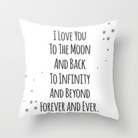 Love You (W) Throw Pillow by Jeans and Tees and Travel and Cakes