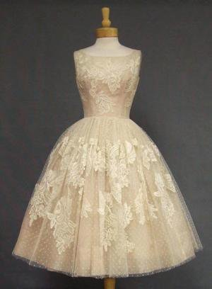 Ivory Lace &amp; Pink Organdy 1950&#x27;s Cocktail Dress VINTAGEOUS VINTAGE CLOTHING
