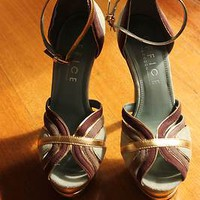 "Size 6 Platform Heels 6"" Gold, Teal, Maroon - Office"