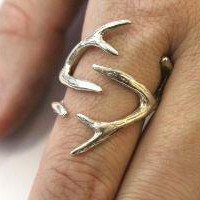 Sterling Silver Whitetail Deer Antler Ring Moon Raven by mrd74