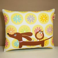 Dachshund Wiener Dog Pillow  Doxie and Owl by persnicketypelican