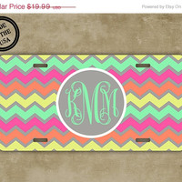 SALE Personalized monogrammed chevron  license plate - Multicolored chevron mint green monogram - monogrammed chevron car tag (9879)