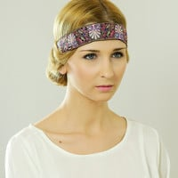by (Oleel) Boho Chic Headband, Beautiful Owl Ornate Detail, Crochet Violet Sequin with Ribbon