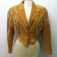 Vintage 1980s Jacket 80s Coat Brown Suede with Fringe Western Contempo Casual Size S M 34 Bust Small Medium