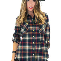 BIRCH PLAID FLANNEL SHIRT - Blue