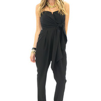 CANDENCE STRAPLESS BOW TIE JUMPSUIT - Black
