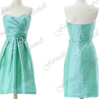 Strapless Sweetheart Taffeta Mint Short Bridesmaid Dresses, Cocktail Dresses,  Wedding Party Dresses, Formal Gown